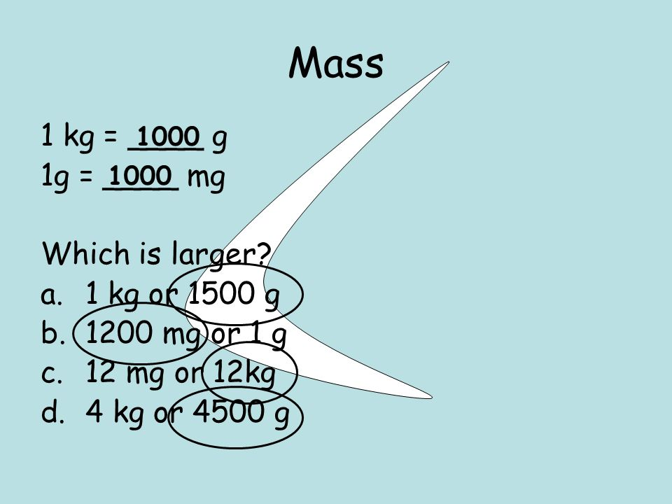 Mass 1 kg = ____ g 1g = ____ mg Which is larger.