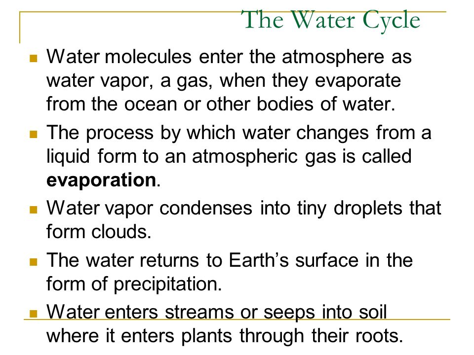 Water molecules enter the atmosphere as water vapor, a gas, when they evaporate from the ocean or other bodies of water.