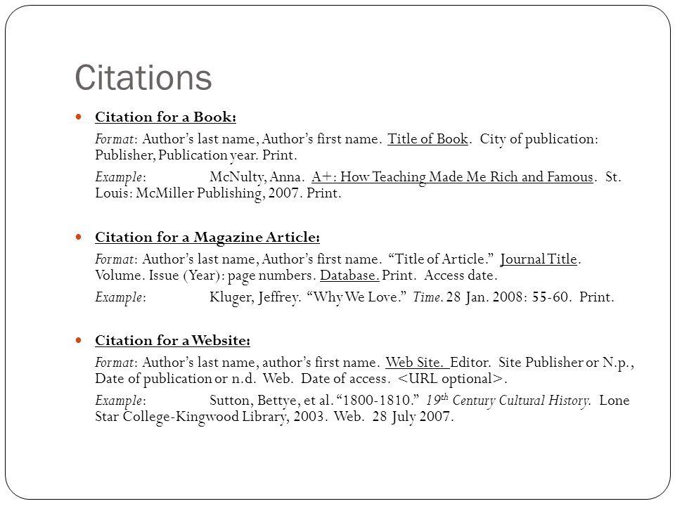 citation for book