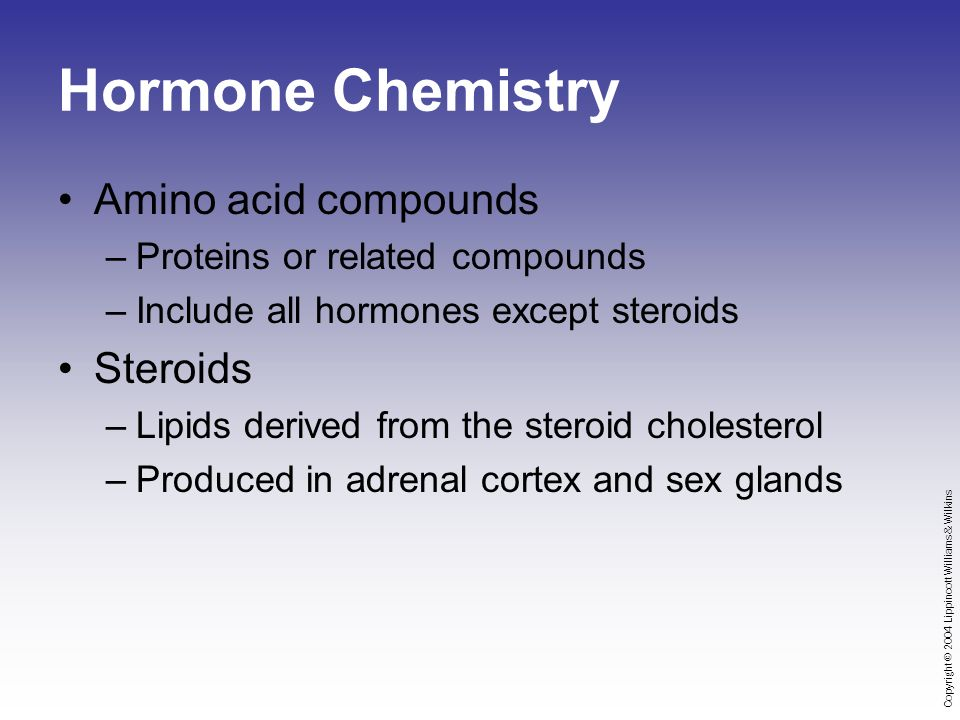 Copyright © 2004 Lippincott Williams & Wilkins Hormone Chemistry Amino acid compounds –Proteins or related compounds –Include all hormones except steroids Steroids –Lipids derived from the steroid cholesterol –Produced in adrenal cortex and sex glands