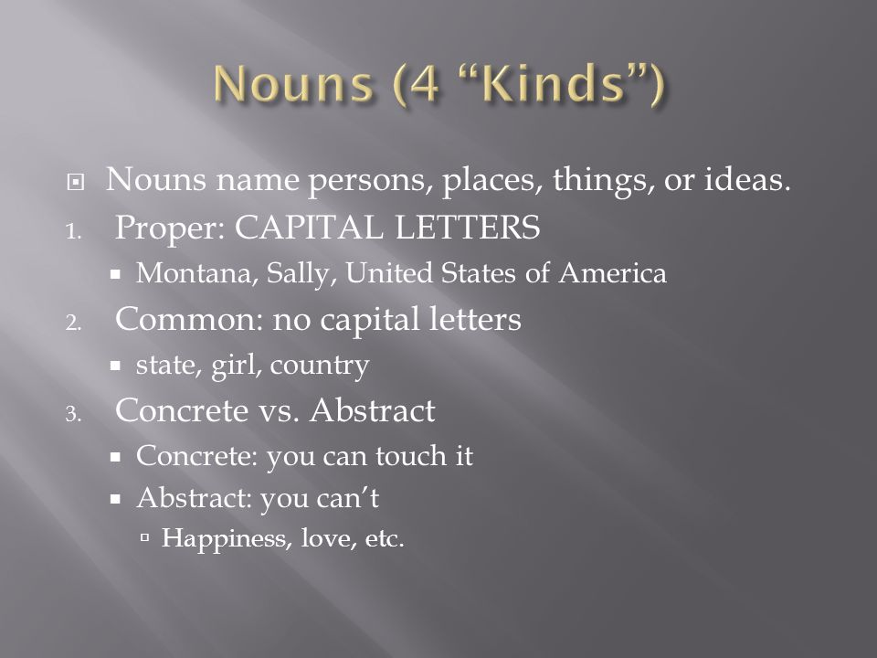  Nouns name persons, places, things, or ideas. 1.