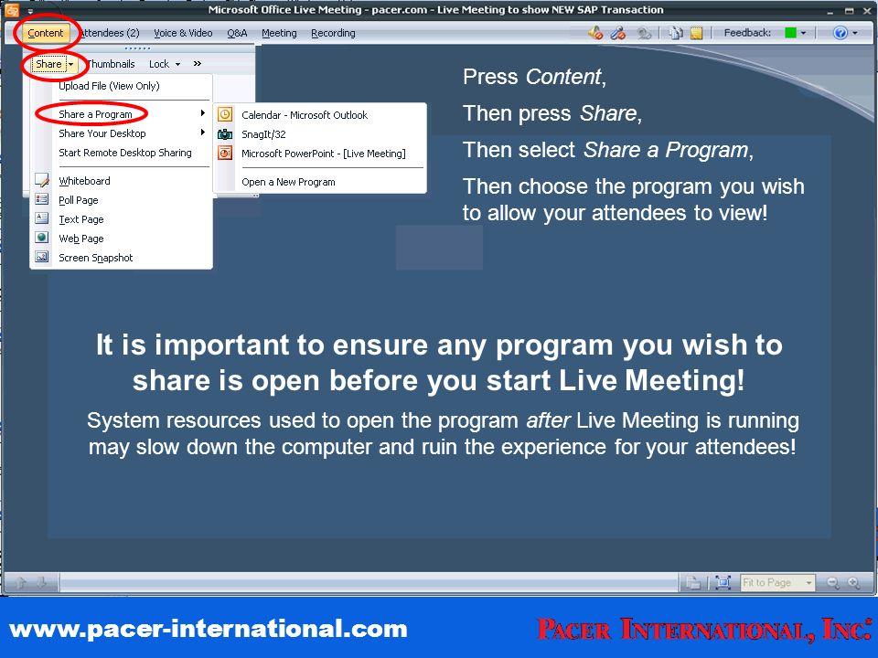 Pacer International Demo Share A Program Press Content Then