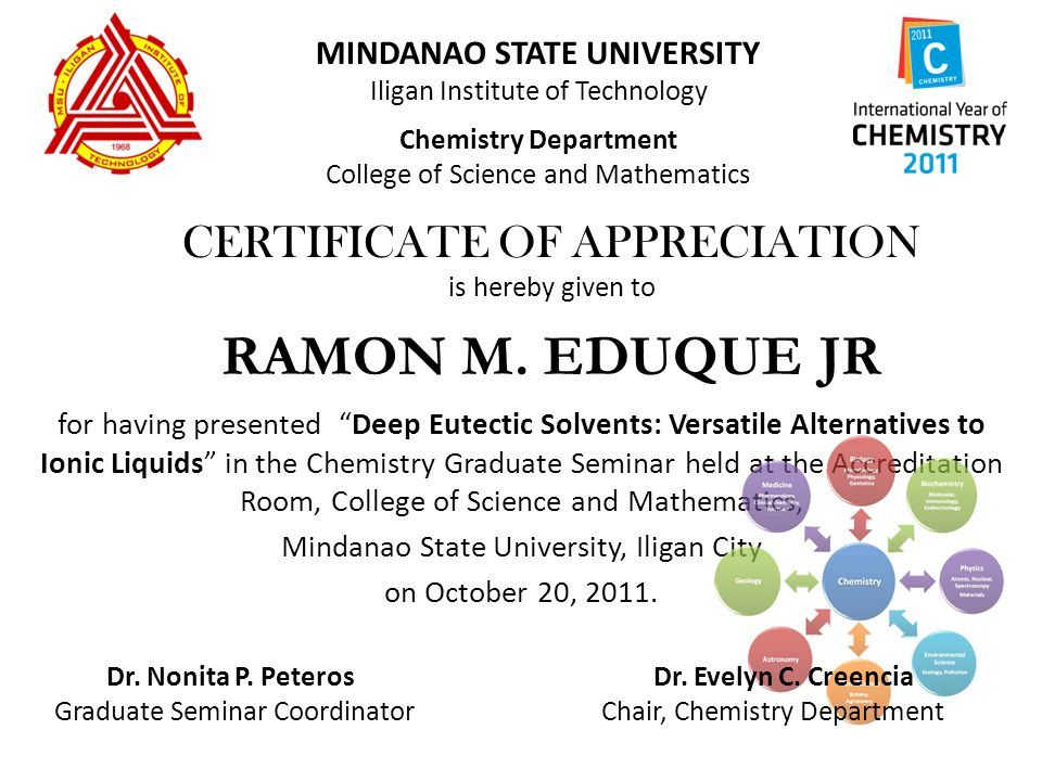 Mindanao state university iligan institute of technology chemistry mindanao state university iligan institute of technology chemistry department college of science and mathematics certificate of yelopaper Image collections