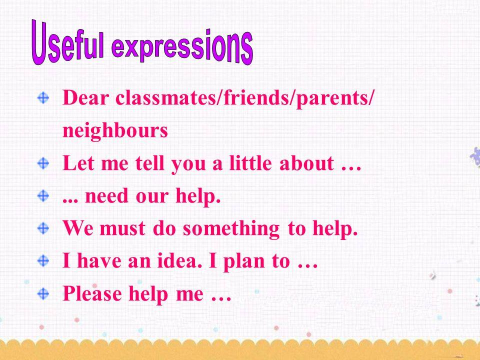 Dear classmates/friends/parents/ neighbours Let me tell you a little about …...