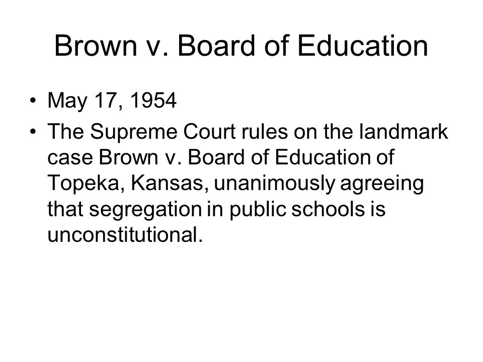 an examination of the brown v board of education of topeka supreme court case Brown v board of education of topeka, kansas, the landmark 1954 supreme court case that pronounced state-mandated segregation in public schools unconstitutional, was a consolidation of six cases that challenged legally mandated school segregation in delaware, the district of columbia, south carolina, virginia, and topeka, kansas.
