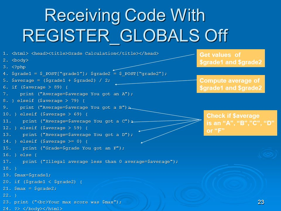 23 Receiving Code With REGISTER_GLOBALS Off 1. Grade Calculation 1.