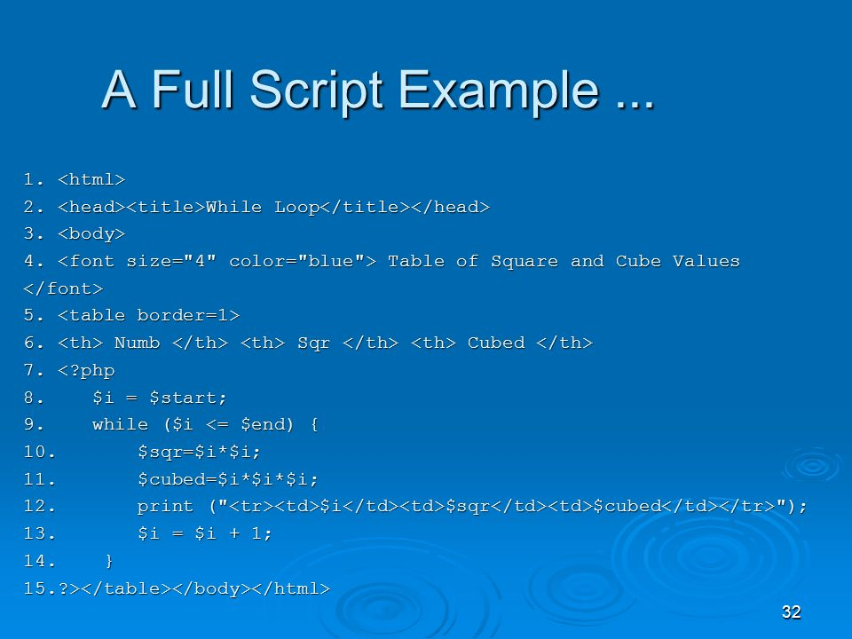 32 A Full Script Example... 1. 1. 2. While Loop 2.