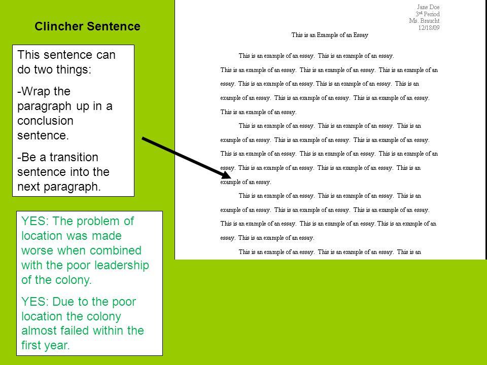 essay clincher examples