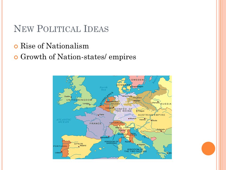 N EW P OLITICAL I DEAS Rise of Nationalism Growth of Nation-states/ empires
