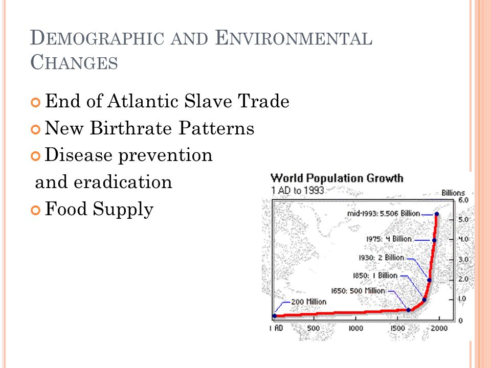 D EMOGRAPHIC AND E NVIRONMENTAL C HANGES End of Atlantic Slave Trade New Birthrate Patterns Disease prevention and eradication Food Supply