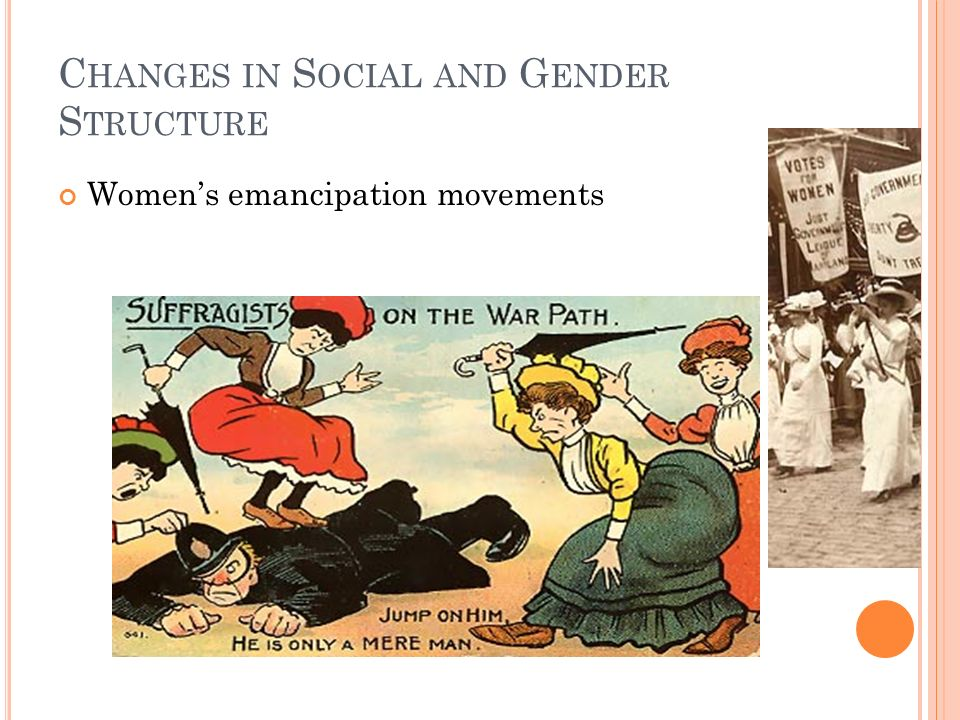 C HANGES IN S OCIAL AND G ENDER S TRUCTURE Women's emancipation movements