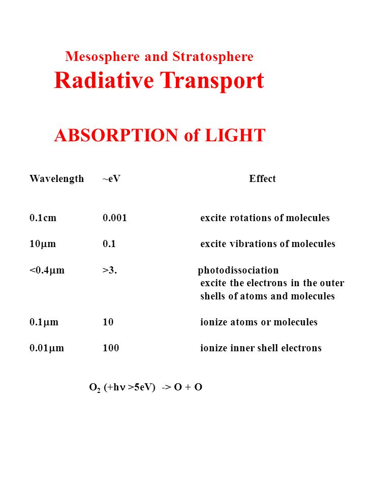 Mesosphere and Stratosphere Radiative Transport ABSORPTION of LIGHT Wavelength~eVEffect 0.1cm0.001excite rotations of molecules 10  m0.1excite vibrations of molecules 3.
