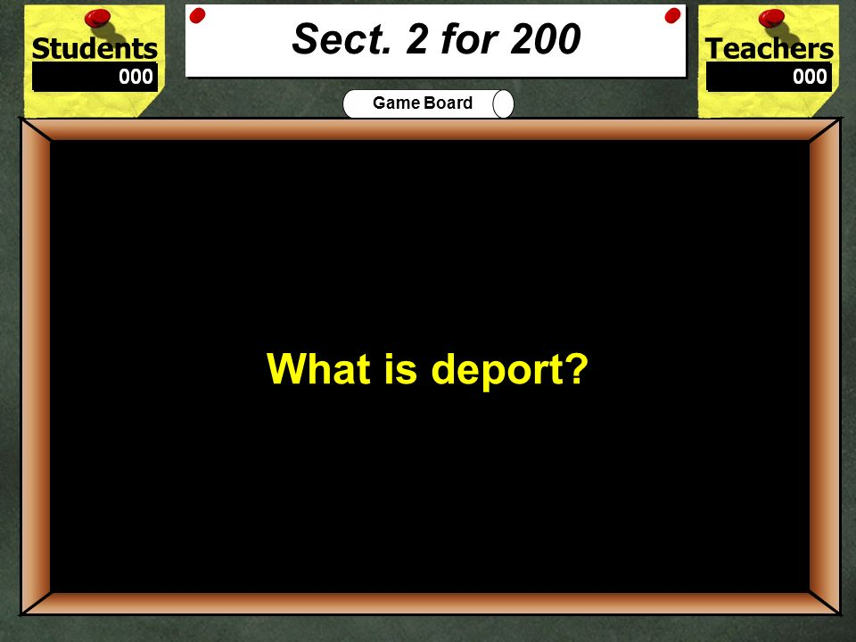StudentsTeachers Game Board A noncitizen who can not vote. 100 Who is an Alien? Sect. 2 for 100