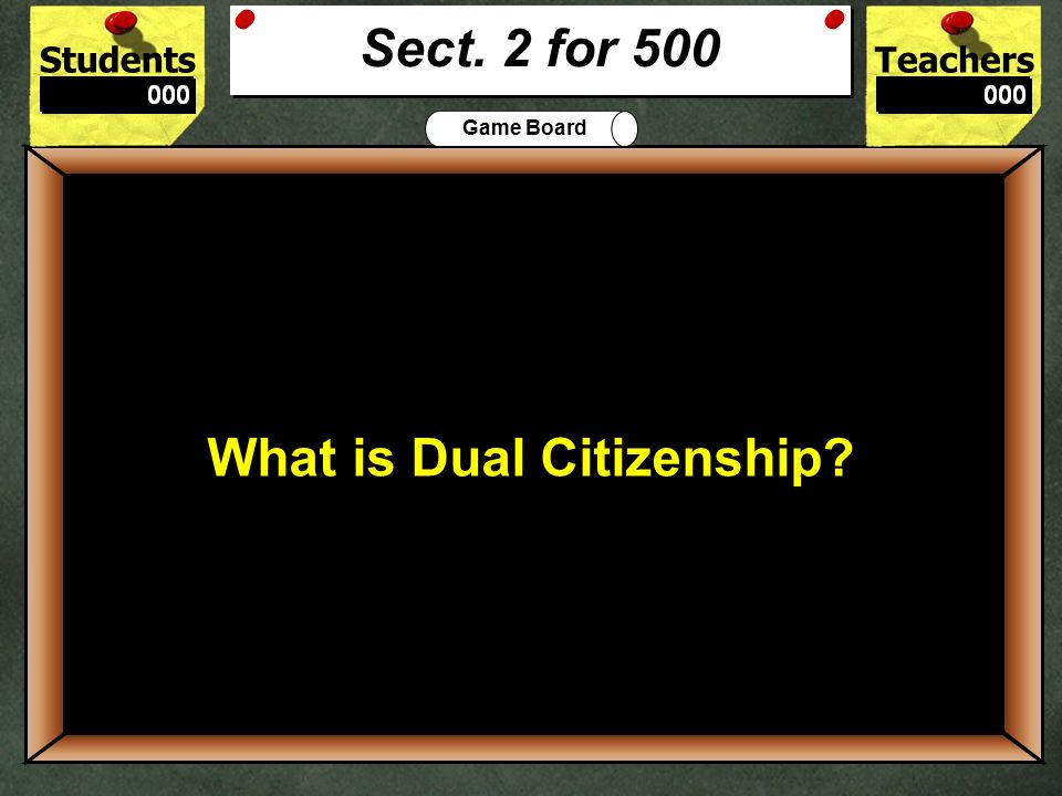 StudentsTeachers Game Board The legal process by which aliens can become citizens.