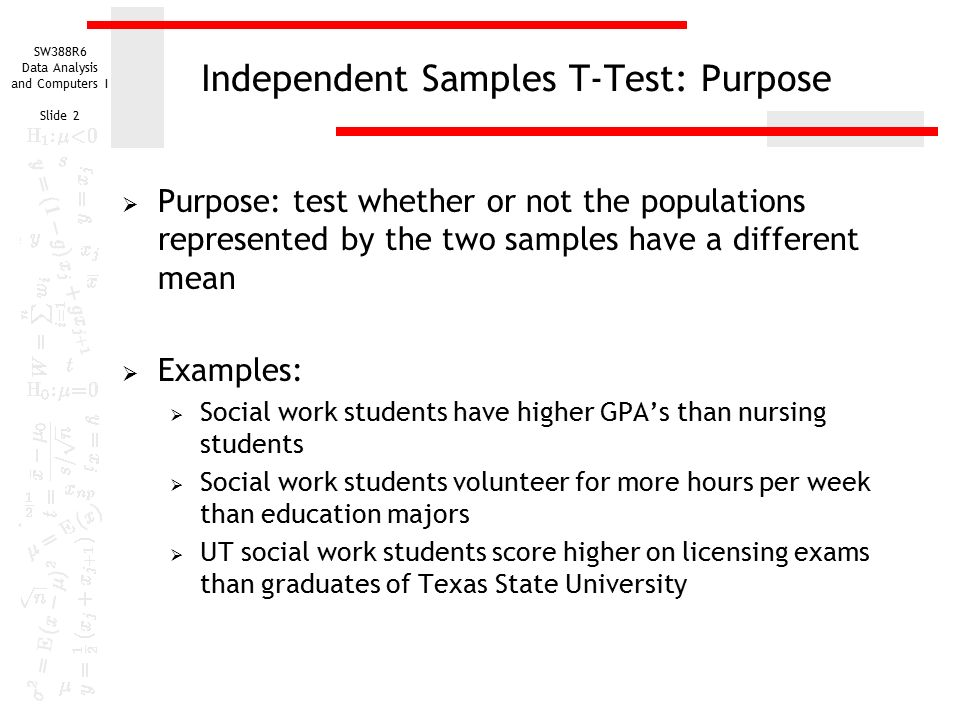 Sw388r6 Data Analysis And Computers I Slide 1 Independent Samples T