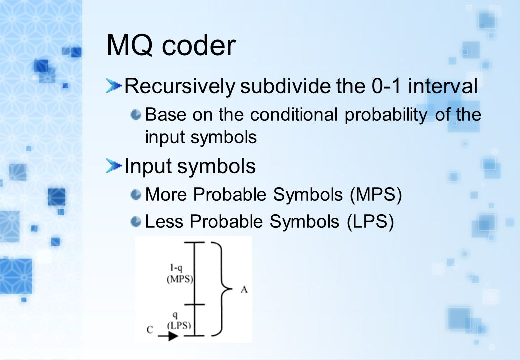 MQ coder Recursively subdivide the 0-1 interval Base on the conditional probability of the input symbols Input symbols More Probable Symbols (MPS) Less Probable Symbols (LPS)