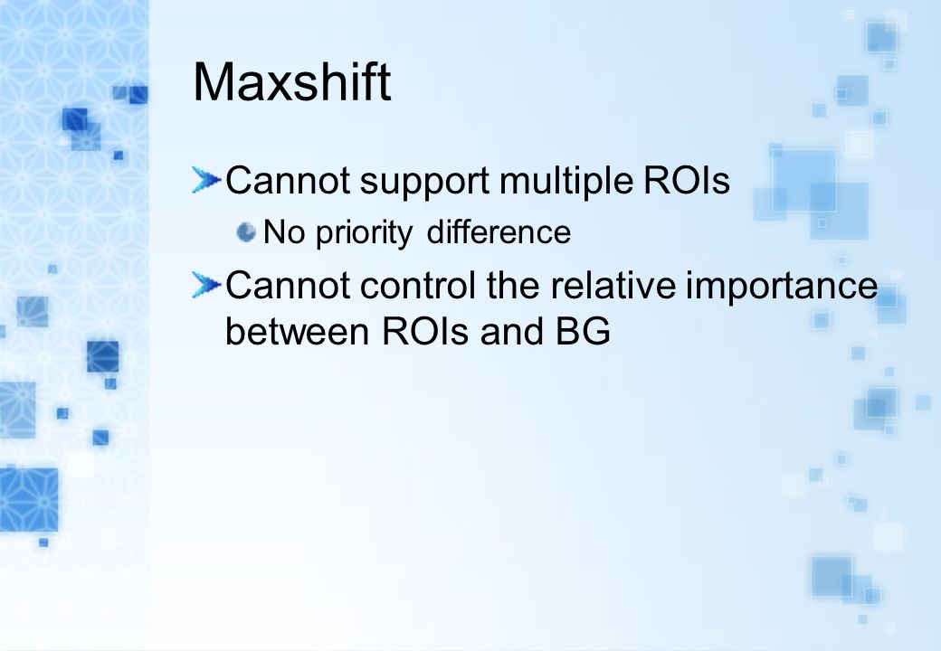 Maxshift Cannot support multiple ROIs No priority difference Cannot control the relative importance between ROIs and BG