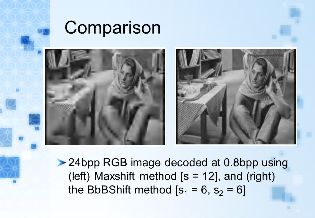 Comparison 24bpp RGB image decoded at 0.8bpp using (left) Maxshift method [s = 12], and (right) the BbBShift method [s 1 = 6, s 2 = 6]