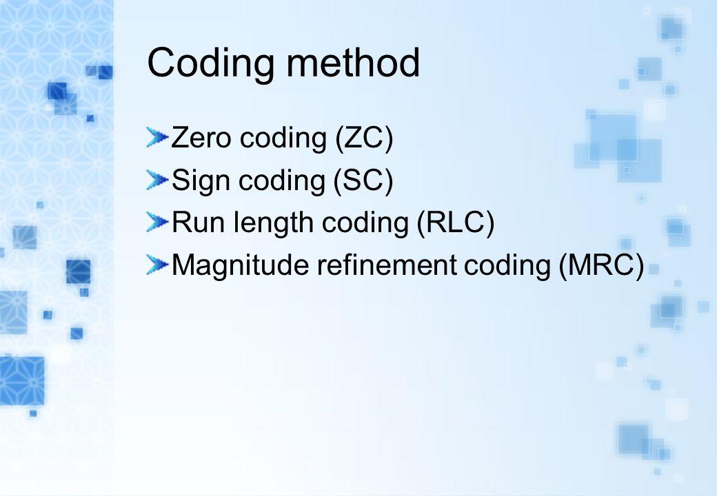 Coding method Zero coding (ZC) Sign coding (SC) Run length coding (RLC) Magnitude refinement coding (MRC)