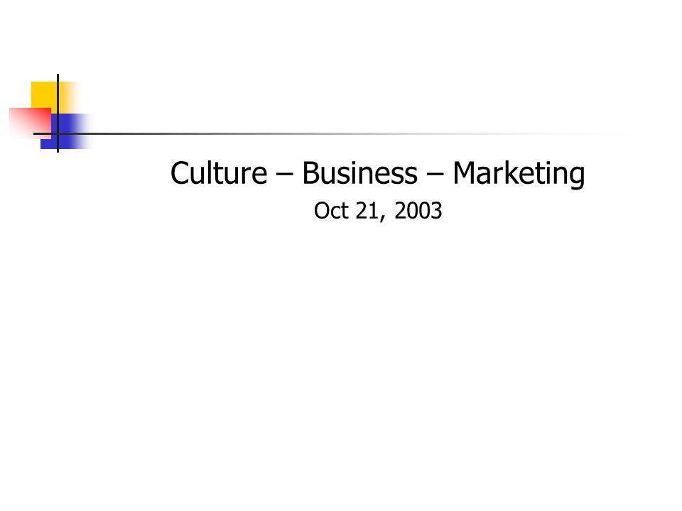 Culture – Business – Marketing Oct 21, 2003