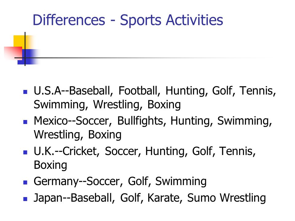 Differences - Sports Activities U.S.A--Baseball, Football, Hunting, Golf, Tennis, Swimming, Wrestling, Boxing Mexico--Soccer, Bullfights, Hunting, Swimming, Wrestling, Boxing U.K.--Cricket, Soccer, Hunting, Golf, Tennis, Boxing Germany--Soccer, Golf, Swimming Japan--Baseball, Golf, Karate, Sumo Wrestling