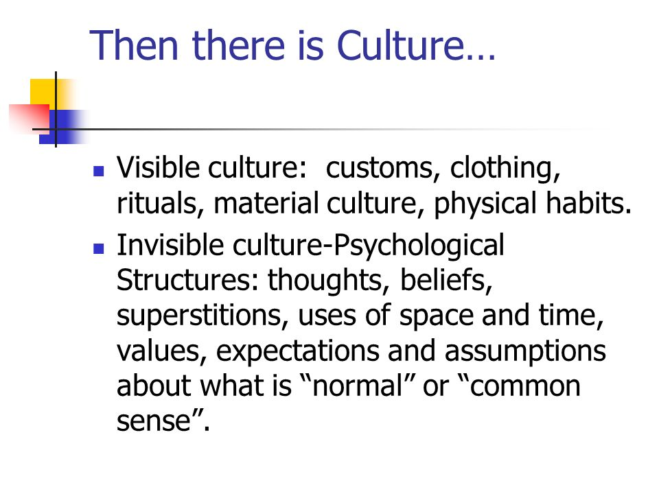Then there is Culture… Visible culture: customs, clothing, rituals, material culture, physical habits.