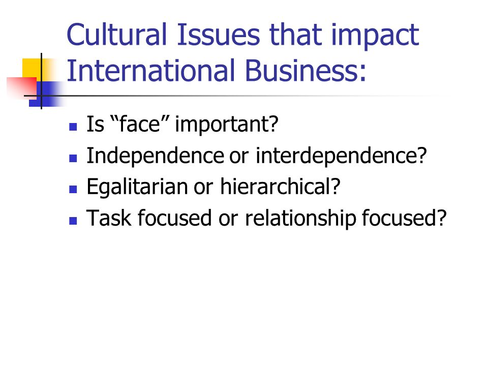 Cultural Issues that impact International Business: Is face important.