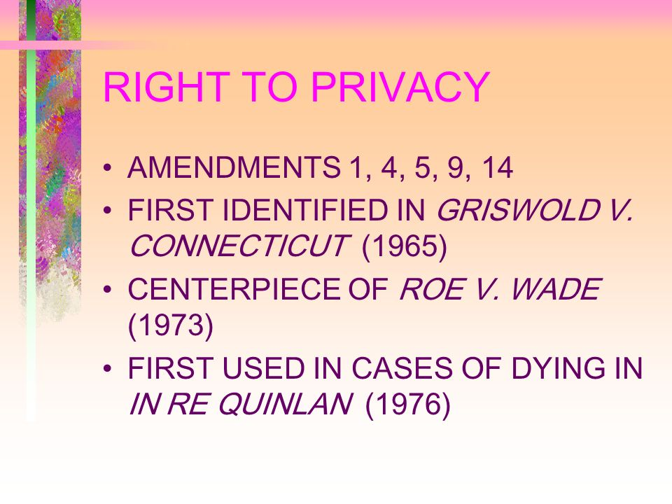 RIGHT TO PRIVACY AMENDMENTS 1, 4, 5, 9, 14 FIRST IDENTIFIED IN GRISWOLD V.
