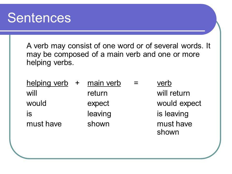 4 Sentences A verb may. Sentences Back to basics  Sentences We begin by identifying two