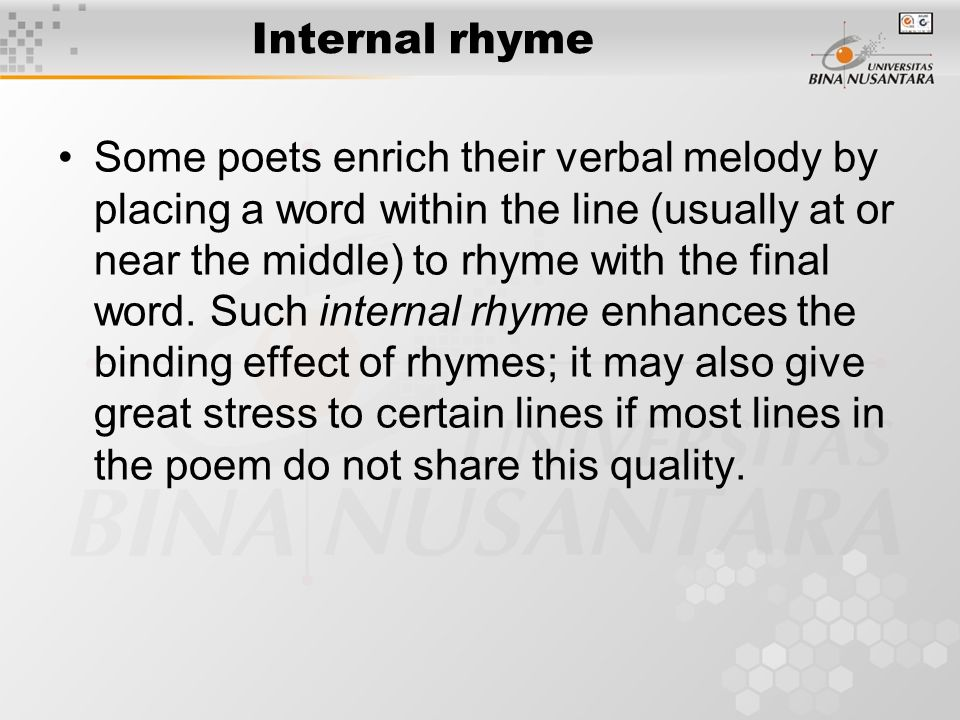 THE FORM OF POETRY A. Sound Values : Rhyme, Alliteration and ...