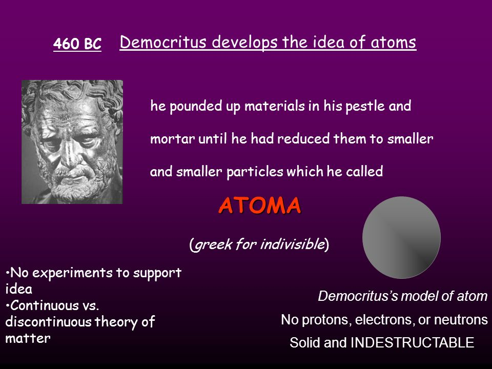 The Greeks History of the Atom Not the history of atom, but the idea of the atom In 400 B.C the Greeks tried to understand matter (chemicals) and broke them down into earth, wind, fire, and air.