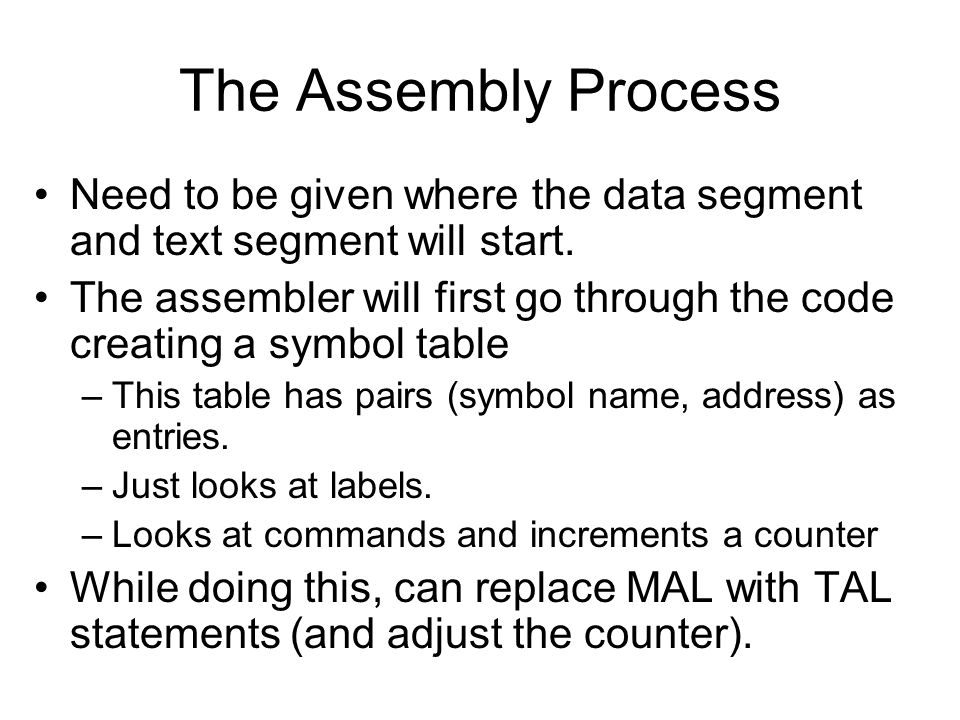 The Assembly Process Need to be given where the data segment and text segment will start.