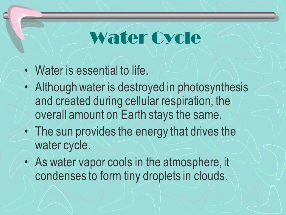 Water Cycle Water is essential to life.