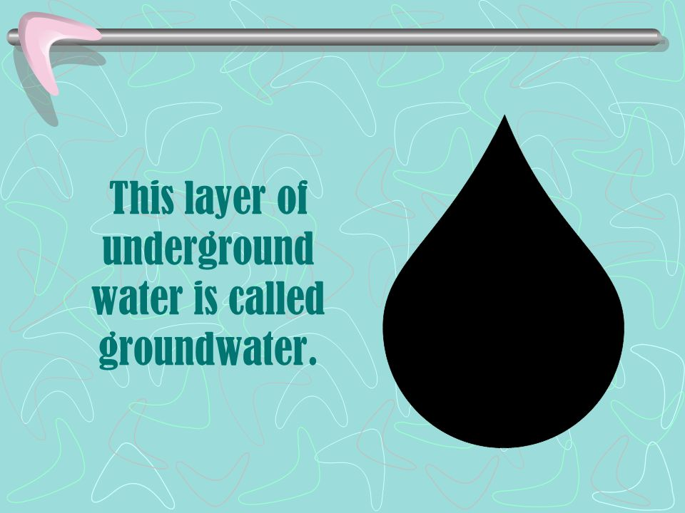 This layer of underground water is called groundwater.