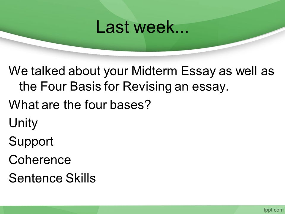 midterm review essay I thought i would just offer some guidelines for study for the essay portion of the midterm exam remember that you will have 3 hours to complete the exam.