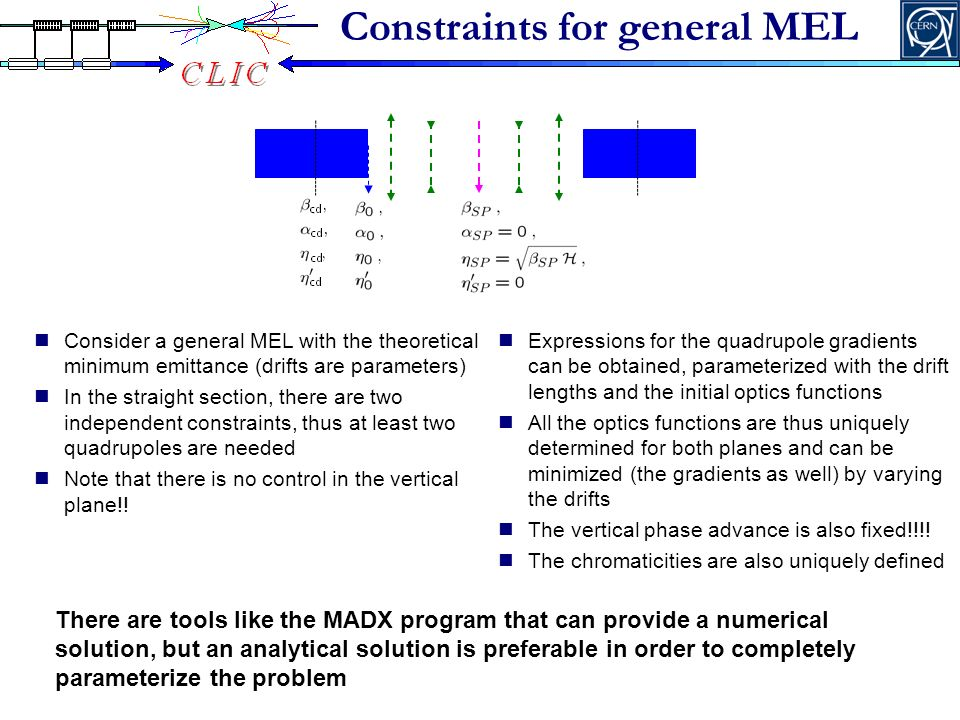 Constraints for general MEL Consider a general MEL with the theoretical minimum emittance (drifts are parameters) In the straight section, there are two independent constraints, thus at least two quadrupoles are needed Note that there is no control in the vertical plane!.