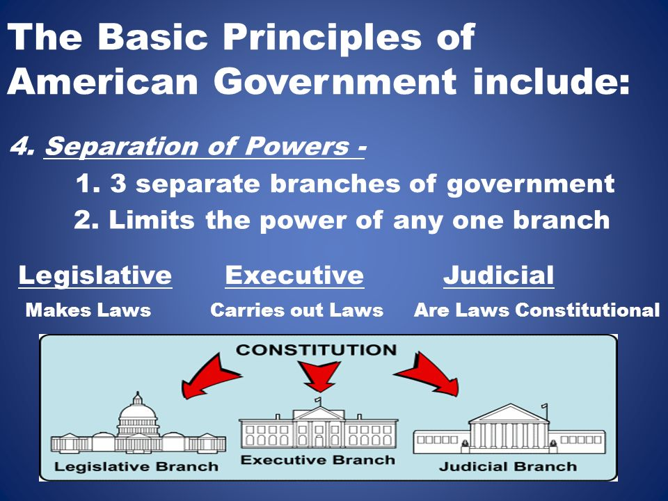 The Basic Principles of American Government include: 4.
