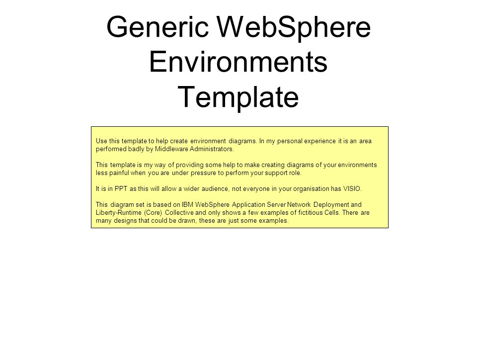 Generic Websphere Environments Template Use This Template To Help
