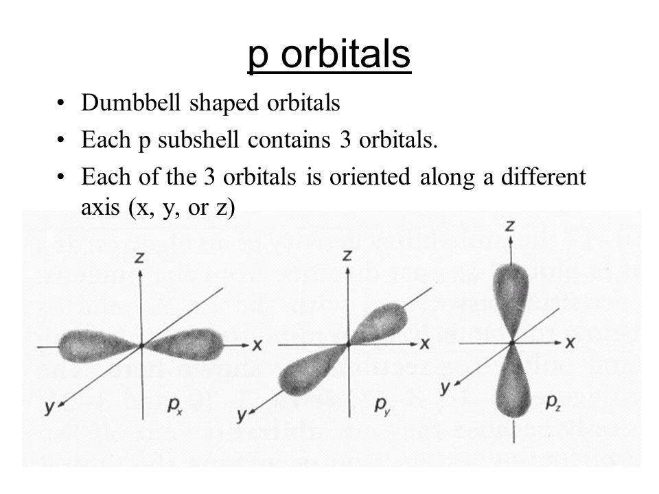 p orbitals Dumbbell shaped orbitals Each p subshell contains 3 orbitals.