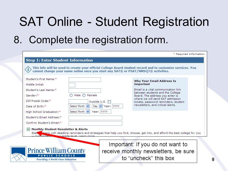 CollegeBoard SAT Online Course Student Registration. - ppt download