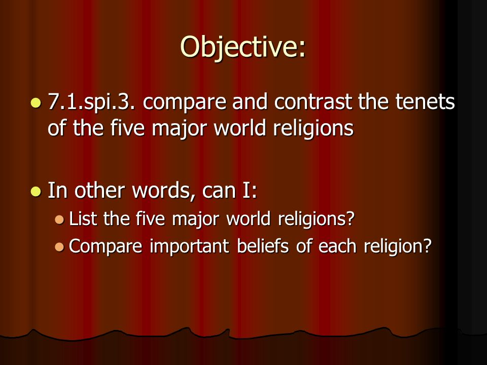 Religion Notes Objective Spi Compare And Contrast The - List of major religions