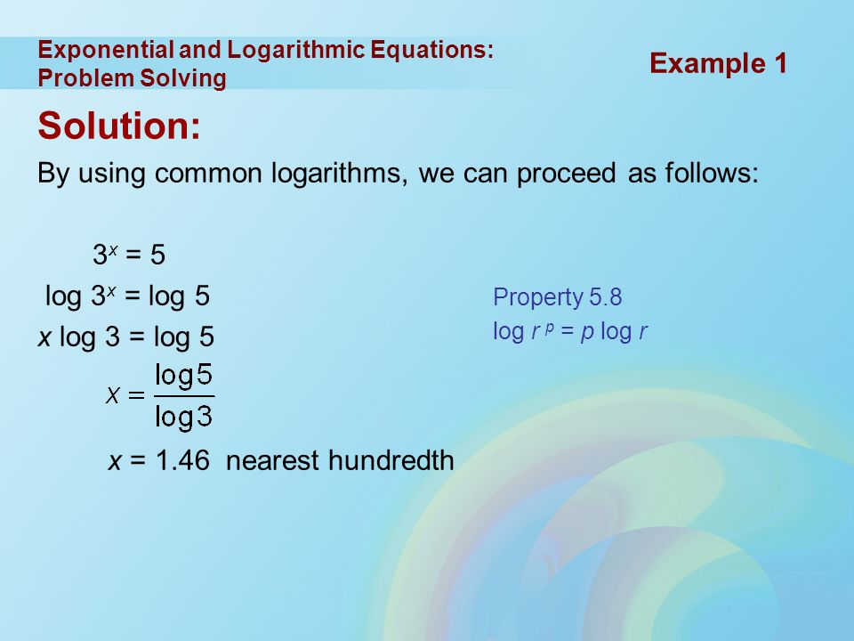 Logarithm problem solving