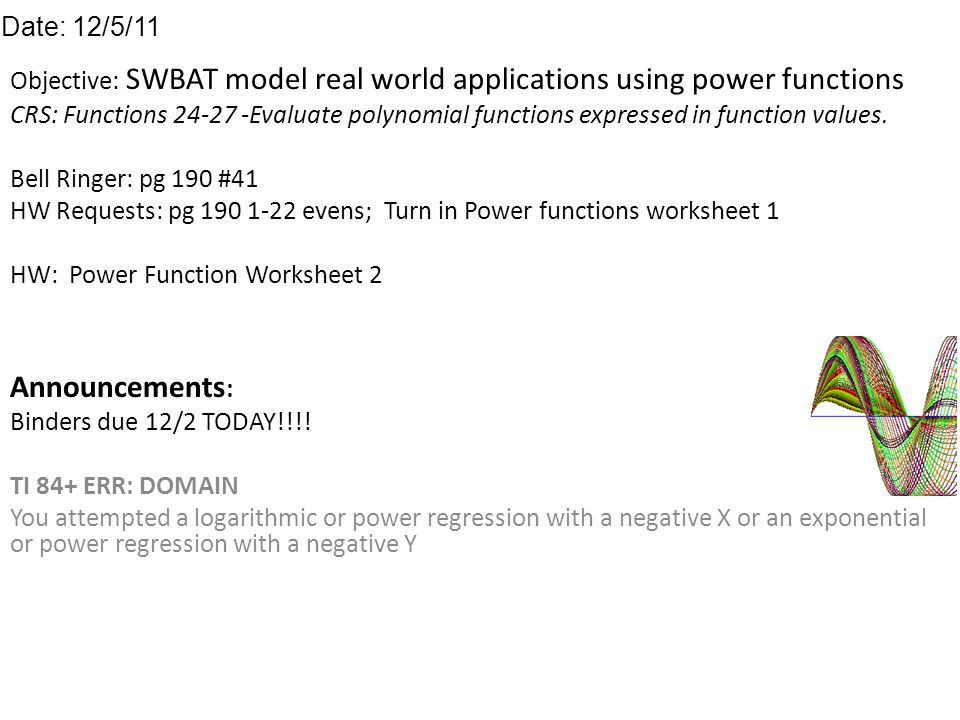 Objective SWBAT model real world applications using power – Polynomial Functions Worksheets