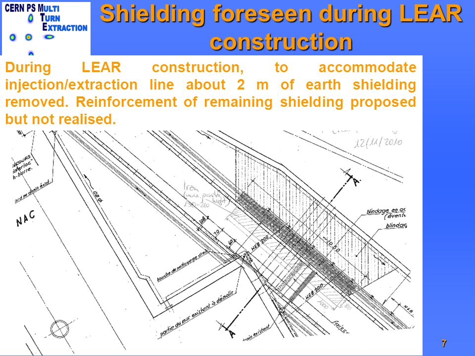 Shielding foreseen during LEAR construction 7MG - IEFC meeting 22/01/2010 During LEAR construction, to accommodate injection/extraction line about 2 m of earth shielding removed.