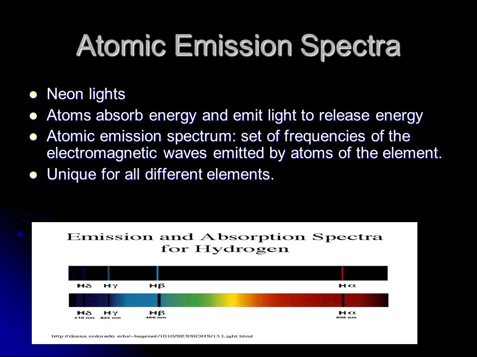 Atomic Emission Spectra Neon lights Neon lights Atoms absorb energy and emit light to release energy Atoms absorb energy and emit light to release energy Atomic emission spectrum: set of frequencies of the electromagnetic waves emitted by atoms of the element.