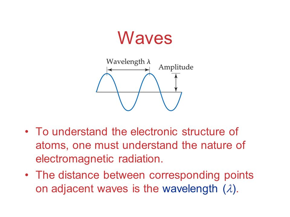 Waves To understand the electronic structure of atoms, one must understand the nature of electromagnetic radiation.
