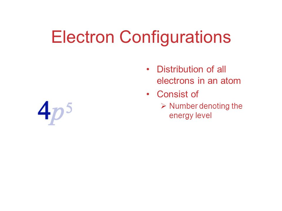 Electron Configurations Distribution of all electrons in an atom Consist of  Number denoting the energy level