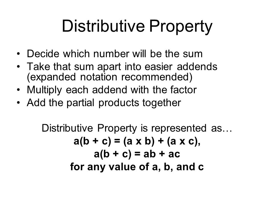 Distributive Property The Property That States That Multiplying A