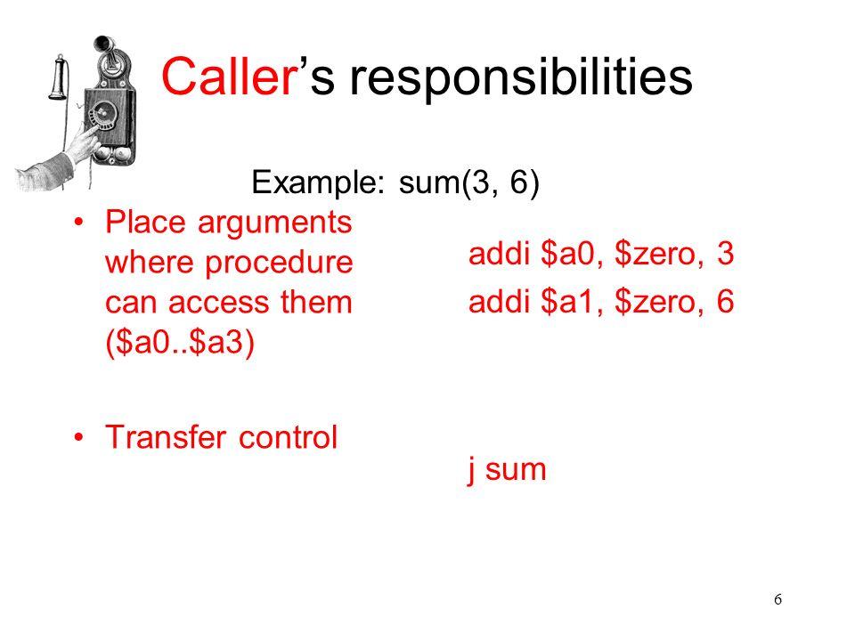 6 Caller's responsibilities Place arguments where procedure can access them ($a0..$a3) Transfer control addi $a0, $zero, 3 addi $a1, $zero, 6 j sum Ex