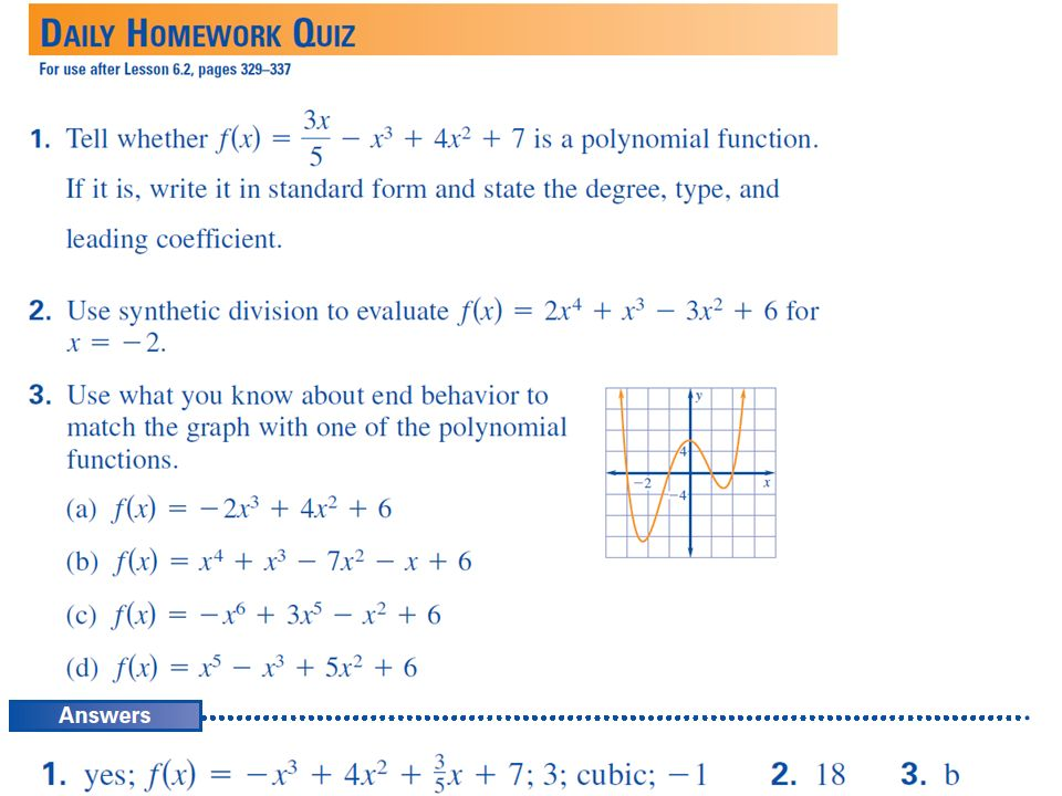 HW: 6.2 Practice Worksheet. EXAMPLE 1 Add polynomials vertically ...